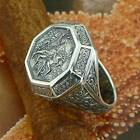 "STERLING SILVER RUSSIAN ORTHODOX RING ""ST. GEORGE CONQUEROR"" SOLID .925 SIZE N-Z"