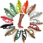 S7Q Womens Strappy Gladiator Sandals Flat Summer Beach Ladies Flip Flops Shoes