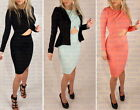 ♥ Womens Celebrity Bodycon Long Sleeve Party Cocktail Open front Wrap Midi Dress