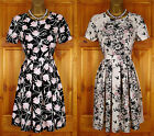 NEW DOROTHY PERKINS BLACK CREAM PINK SUMMER TEA PARTY DRESS VINTAGE 50s STYLE