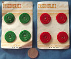 4 vintage buttons on original card FASHIONABLE BUTTONS red or green 7/8""