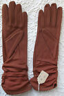 Vintage ladies nylon gloves 1950s UNUSED Ivanhoe tan ruched FADED Size 6 1/2 7