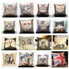 "Linen Cotton Decorative Throw Pillow Cover Cushion Cat Print 18"" Princess Case"