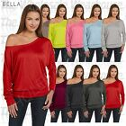 New Bella Fashion Women's' Flowy Long-Sleeve Off Shoulder XS-2XL T-Shirt M8850