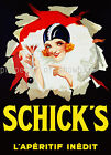Vintage Schick's French print poster, large 4 sizes available, France 103