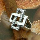 STERLING SILVER CROSSED RECTANGLES RING SOLID.925 /NEW JEWELLERY  SIZE J - U