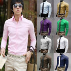 Mens New Fashion Formal Long Sleeve Stylish Slim Fit Dress Shirts Tops 11 color
