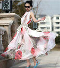 Sexy Womens New Fashion Sleeveless Long Chiffon Floral Casual Beach Party Dress