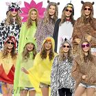 Ladies Mens Unisex Animal Ponchos Showerproof Festival Adult Fancy Dress Costume