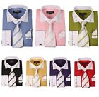 Men's French Cuff Dress Shirt with Matching Tie and Handkerchief 7 Color