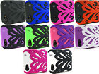 for Apple iPhone 5 5s + Pry Tool& Butterflykiss Hybrid Hard/Soft Skin Case Cover