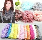 FD147 Lace Tassel Sheer Burnt-out Floral Triangle Mantilla Scarf Shawl Wrap 1pc@