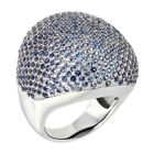 6.00 Ct 503 Round Blue Zirconia 925 Sterling Silver Ring 22.40 grams