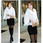 100% Real Genuine Knitted Mink Fur Fox Collar Cape Stole Shawl Scarf Coat 2color
