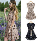 New Fashion Womens Cute Elk Deer Print Pleated Sleeveless Chiffon Dress Skirts