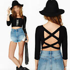 Fashion Womens Sexy Scoop Neck Backless Blouse Tops Hlaf Sleeve Crop Top T Shirt