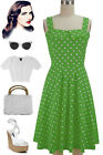 50sStyle PLUS SIZE LIME GREEN w/Big POLKA DOTS FoldOver Bust PEGGY SUE Sun Dress