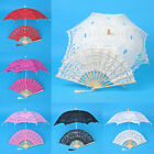 Flower Girls Kids Lace Parasol Umbrella Hand Fan For Bridal Wedding Decoration