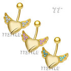 TT Crystal Gold-Tone Angel Wing Heart Belly Bar Ring Body Piecing (BL54)
