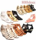 ladies shoes - Women's Buckle Strappy Open Toe Wedge Heel Sandal Shoes Size 5.5 - 11 NEW