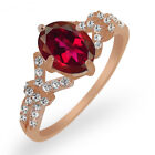 2.56 Ct Red Mystic Quartz White Created Sapphire Rose Gold Plated Silver Ring