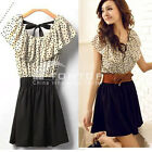 New Fashion Women Summer Chiffon Short Sleeve Polka Dot Waist Top Dresses Skirt