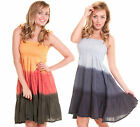 NEW KUSHI DIP DYE SHIRRED BUST SUMMER MINI DRESS IN GREY OR ORANGE UK 10 12 16
