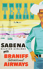 Vintage Sabena Airlines Texas travel print poster, large 4 sizes available