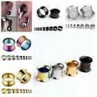 Pair 3-16MM Stainless Steel Double Flare Flesh Ear Tunnels Plugs Earlets Gauges