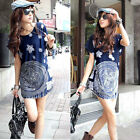 Women Floral Print Crew Neck Loose Tops Batwing Sleeve Casual T-Shirt Blouse