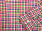 Polo Ralph Lauren Classic Fit LS Light Oxford Shirt Bold Plaid 125 Pink Blue NWT