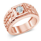 0.45 Ct Sky Blue VS Aquamarine 18K Rose Gold Plated Silver Men's Solitaire Ring