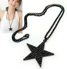 1x  Fashion Sweater Chain Black Pentagram Star Pendant Alloy Necklace New