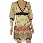 Ladies ex Monsoon Cream Leaf Print Chiffon Lined Dress Smart Casual New Womens