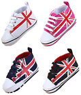Infant Baby Boy Girl Union Jack Pram Shoes Trainers Size Newborn to 18 Months