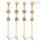 TT Gold-Tone CZ Long Dazzling Dangle Belly Bar Ring 4 Colour Piecing (BL125)