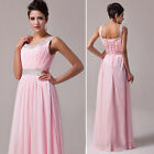Glam Sequins Long Chiffon Evening Formal Party Ball Gown Prom Bridesmaid Dress 1
