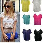 Vintage Sheer Mesh Short Sleeve Lace Crochet Blouse Cover Up One Size XS-M SP172
