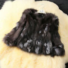 New womens real silver fox fur coat overcoat garment winter jacket outwear C0084