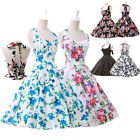 UK sale~ LADIES VINTAGE 50S 60S FLORAL ROCKABILLY PARTY SWING PROM EVENING DRESS