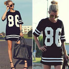 Oversize Woman Printing Simple Wild T Shirt Baseball Tee Loose Dress Top Blouse