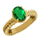 2.30 Ct Oval Green Nano Emerald 925 Yellow Gold Plated Silver Ring