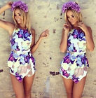 Sexy Women Celeb Floral Print Playsuit Summer Ladies Dress Jumpsuit Shorts