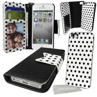 Polka Dot pu Leather BOW Wallet Case with Detachable Hard Cover for apple phone