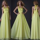 GK Glam Halter Bridesmaids Chiffon Gown Prom Evening Pageant Party Dress 8-18 20
