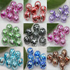 10/50X High Quality Lampwork Water Ripple Crystal Glass Art Beads 12mm 6 Colors