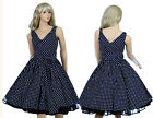 Vintage Dress Retro Dancing Party Rockabilly Swing Spot Dot Polka 50s 60s Blue