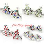 5x Silvery Crystal Christmas Xmas Tree Charms Beads Fit European Snake Bracelet