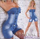 NEW SEXY LADIES JEANS OVERALL 6 8 10 12 WOMENS DENIM SHORTS JUMPSUIT SHORT PANTS