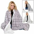 Fairisle Design Warm Fleece Blanket Super Soft Sherpa Luxury Home Sofa Bed Throw